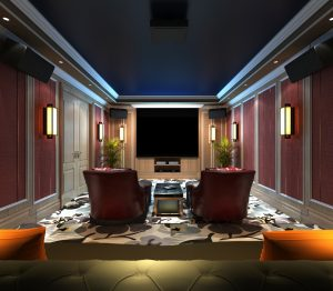3d render home cinema room